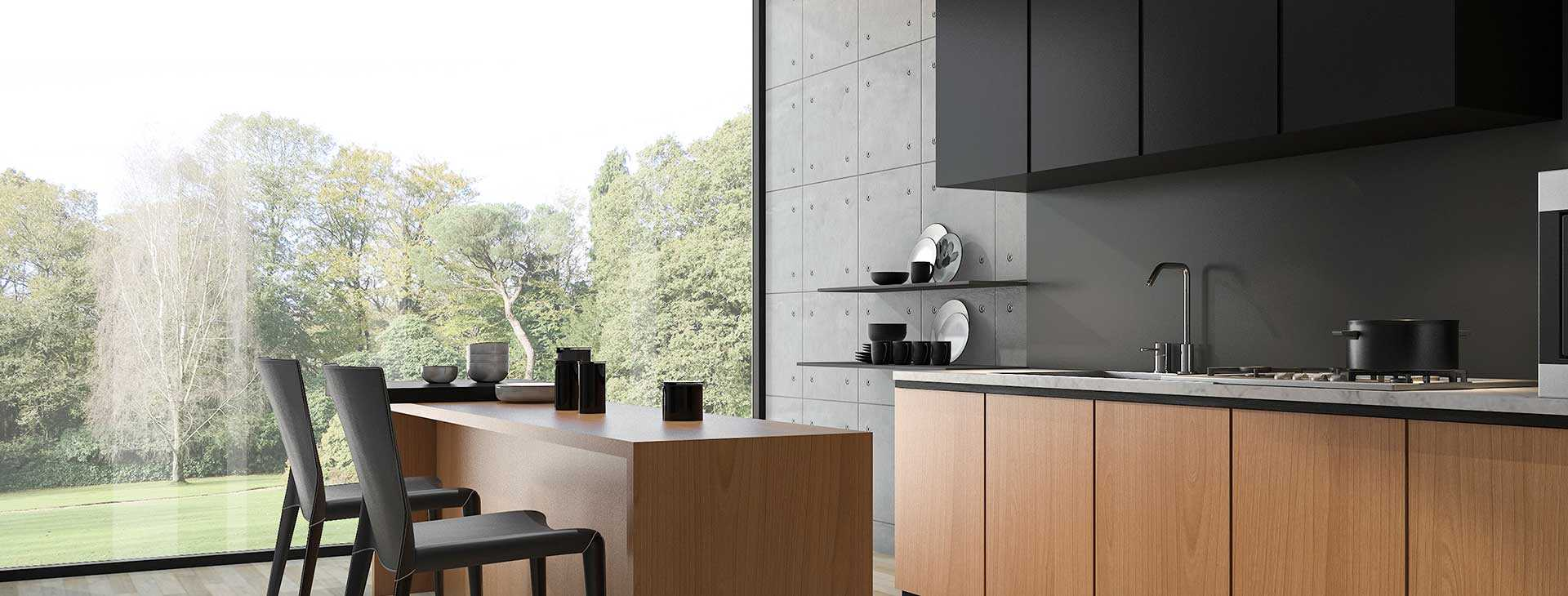 modern new kitchen with blend of timber and black doors