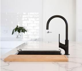 A brand new countertop replacement with sleek matte black hardware