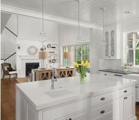 Traditional white family kitchen open plan layout